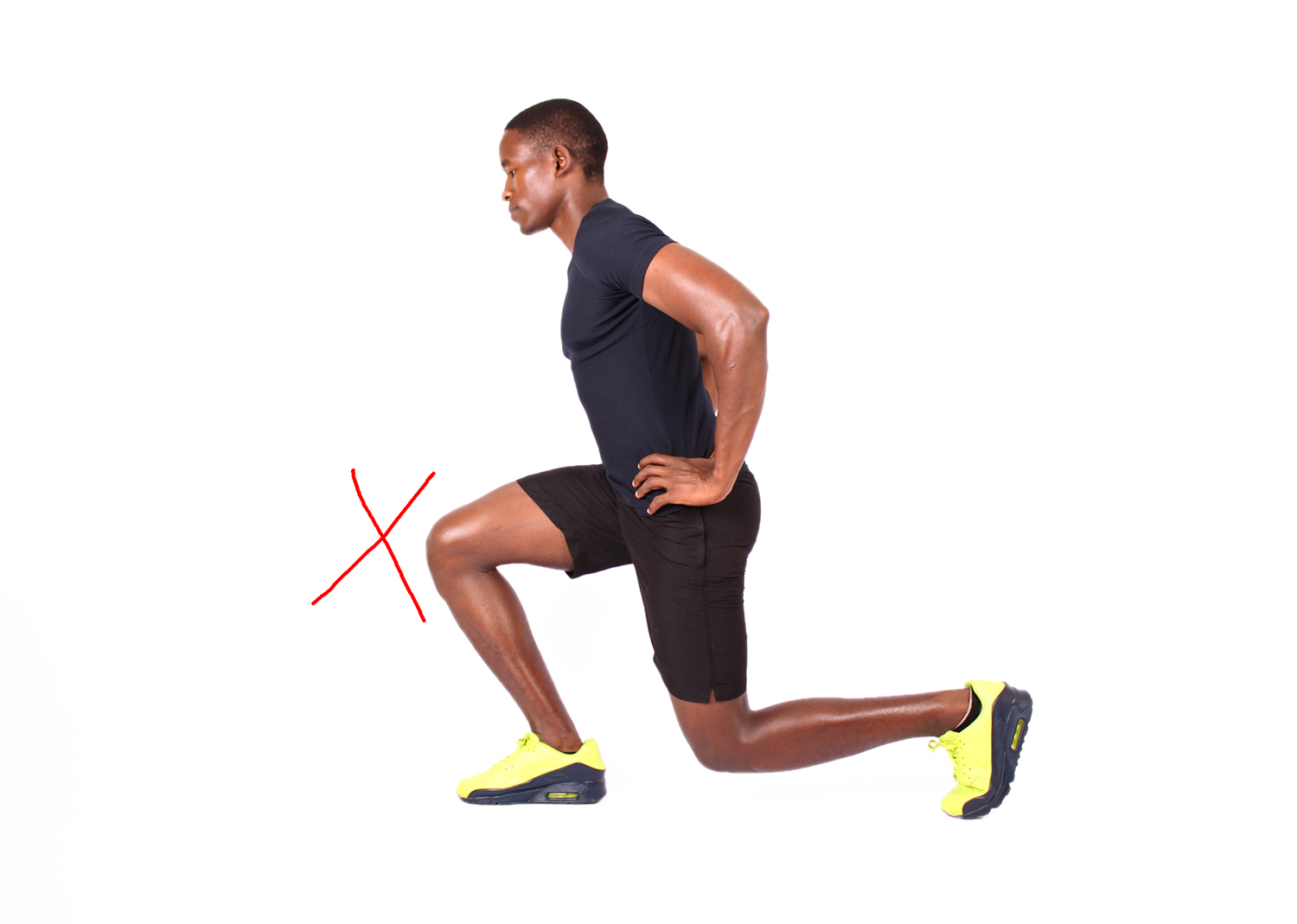 Man not performing lunges properly