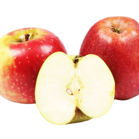 Two Red Ripe Apples With Slice (cut) of Green Apple