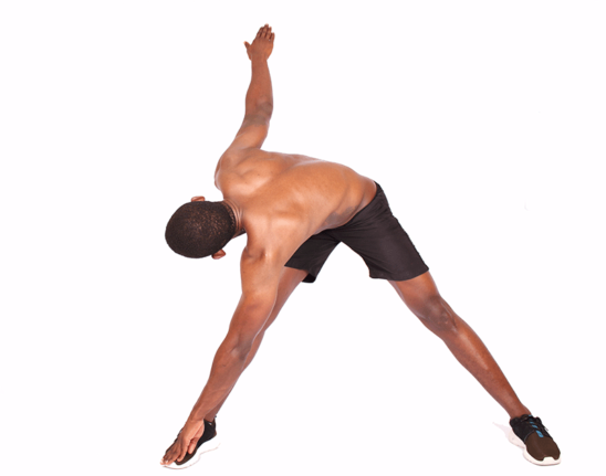 African Man Touching Toes Doing Yoga Stretch For Legs and Back