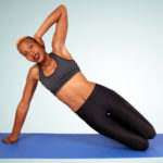 Athletic Woman Doing Knee Side Plank Beginner Exercise