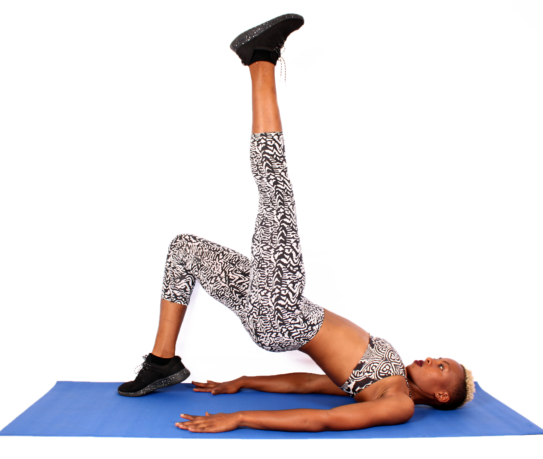 Fit Woman Doing Bodyweight Single Leg Glute Bridge with Butt Raised