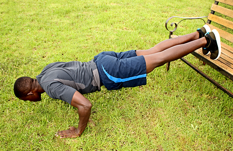 How to Do Decline Push Ups With Legs Raised on Bench