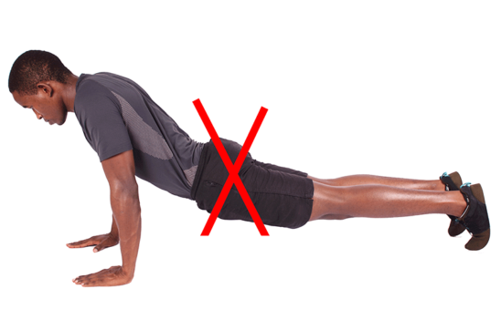 Man Doing Push Ups Wrongly With Sinking Hips