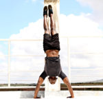 Man Upside Down in Handstand Push Ups Starting Position