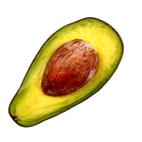 One Slice of Avocado on A Isolated White Background