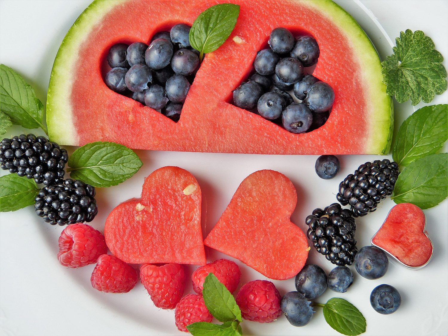 Healthy Fruits Decoration, Watermelon, Strawberries, Blueberries, and Blackberries