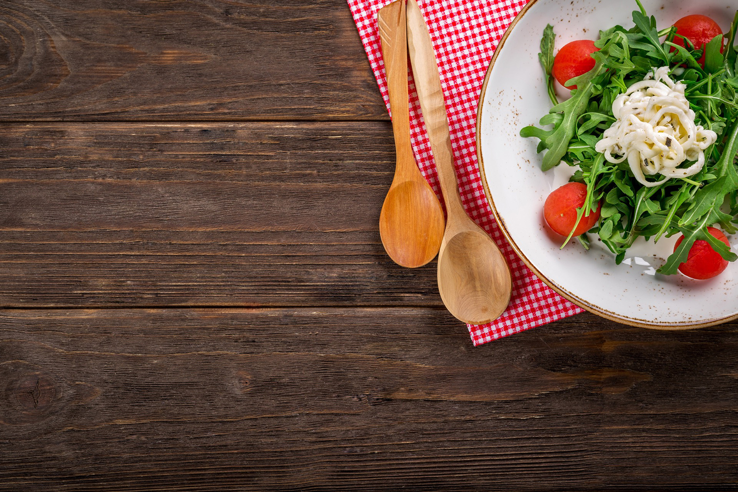 Salad Placed On Wooden Table