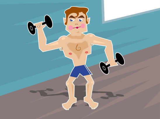 Vector Illustration of Muscular Man Lifting Dumbbells