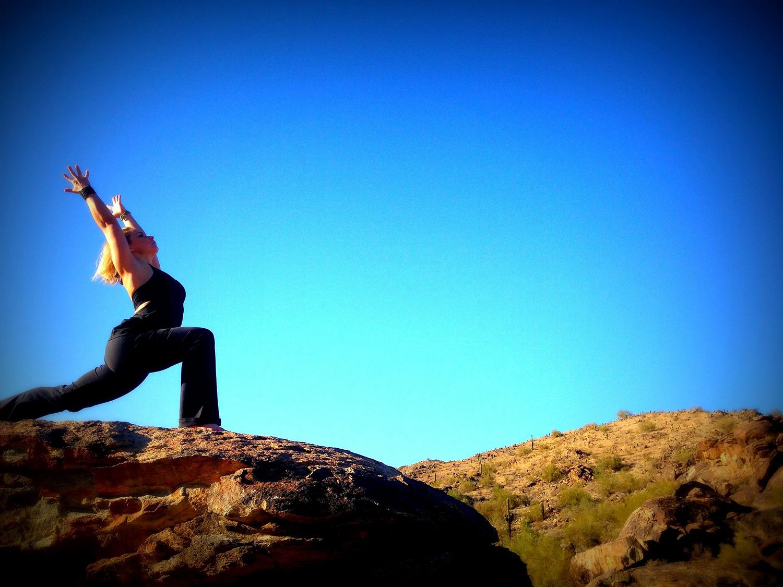 Athletic Woman Doing Crescent Lunge — Anjaneyasana Yoga Pose
