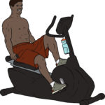 Illustration of Man Exercising On Stationary Bike