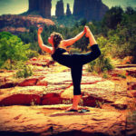 Athletic Girl Doing Dancer's Pose. Balancing Yoga Pose