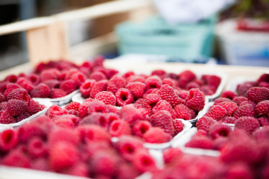 Raspberries in Market Stall, Healthy Eating