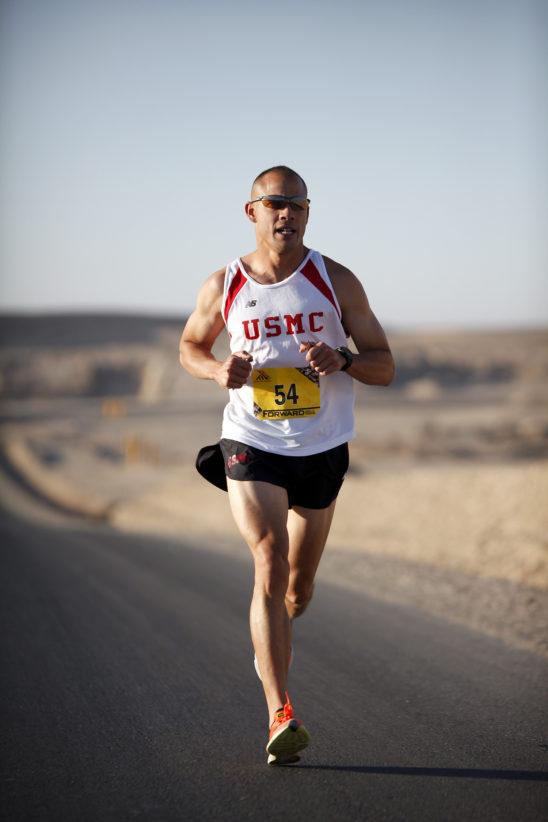 Marathon Runner Exercising on A Sunny Day