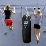 Two Strong Women Doing Pull Ups Exercise