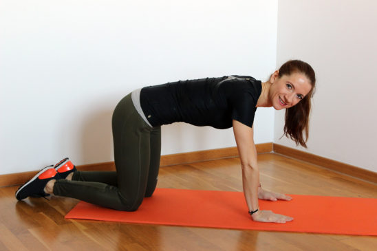 Slim Woman in All Fours Position Ready To Exercise on Yoga Mat