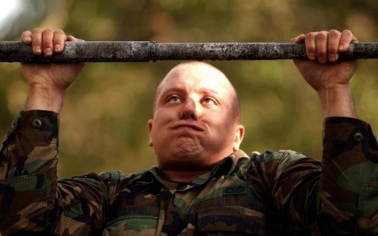 Military Trainee Doing Pull Ups