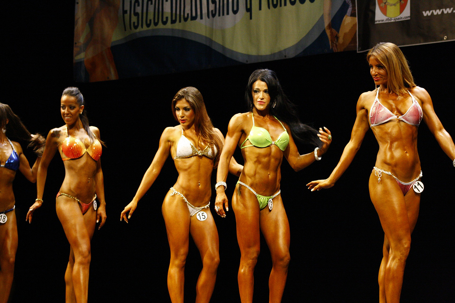 Muscular Female Bodybuilders on Stage
