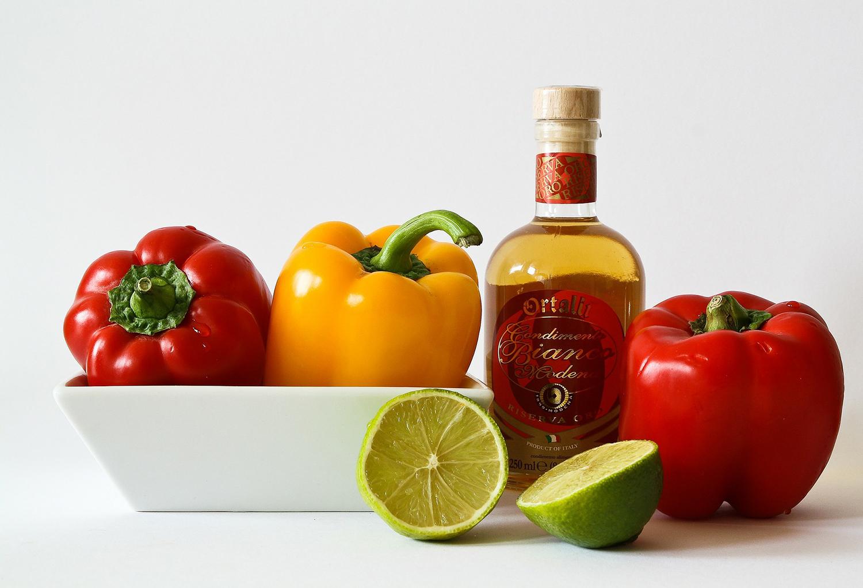 Healthy Foods. Paprika, Lemons and Wine