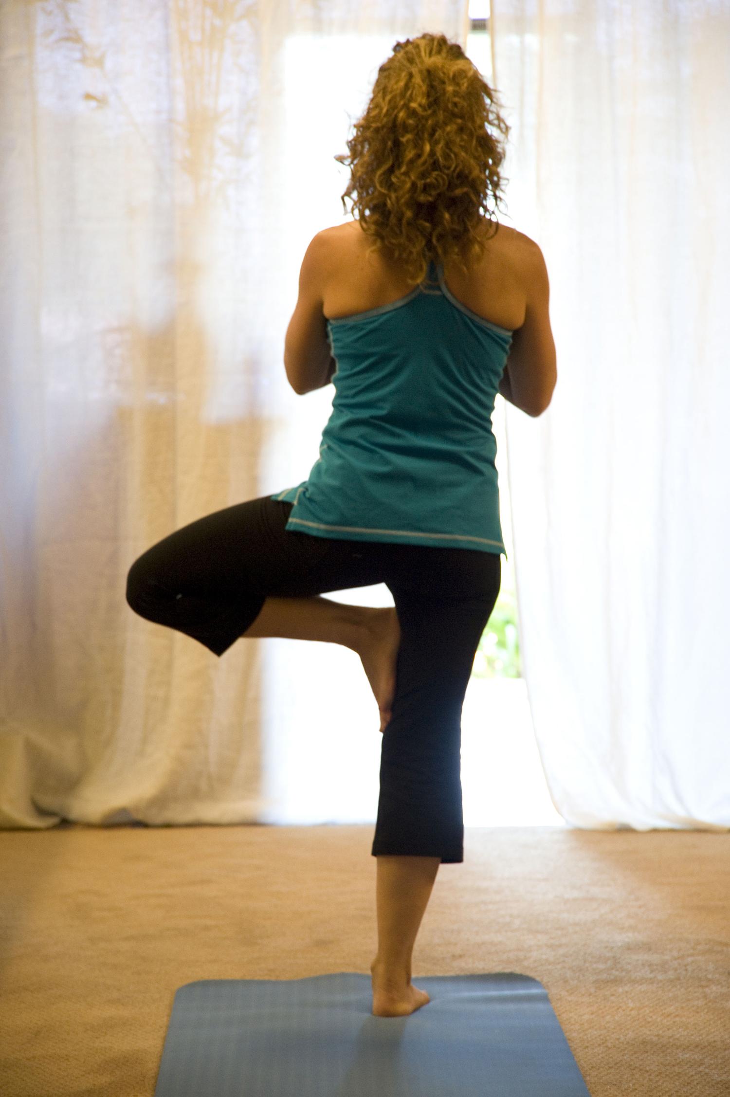 Fit Woman Doing Tree Pose. Balance Yoga Pose