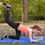 Fit Woman Doing Donkey Kick Exercise Outdoors