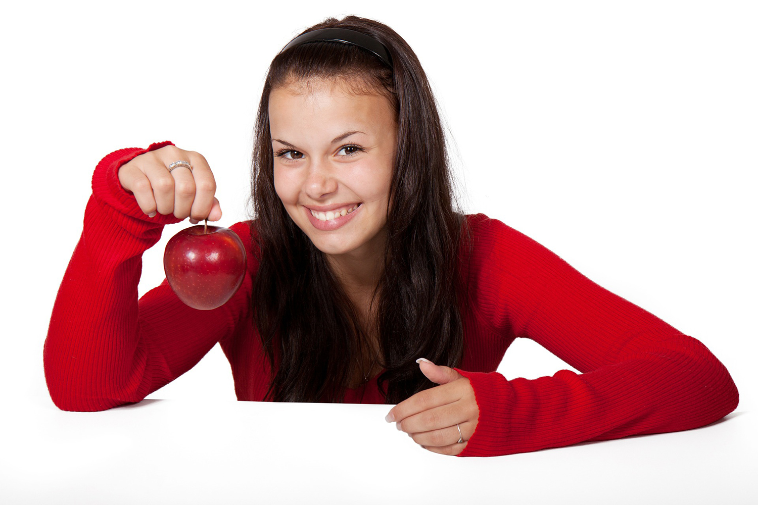 Smiling Beautiful Woman Holding Red Apple