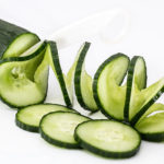 Sliced Cucumber on White Background