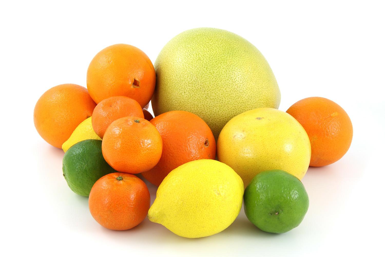 Fruits Isolated On White Background. Grapefruit, Orange, Lemon and Lime