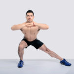 Shirtless Man Doing Side Lunges Exercise