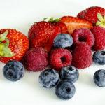 Close-up Shot of Strawberries, Raspberries, and Blueberries