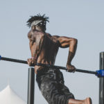 Strong Man Doing Calisthenics Using Pull Up Bar