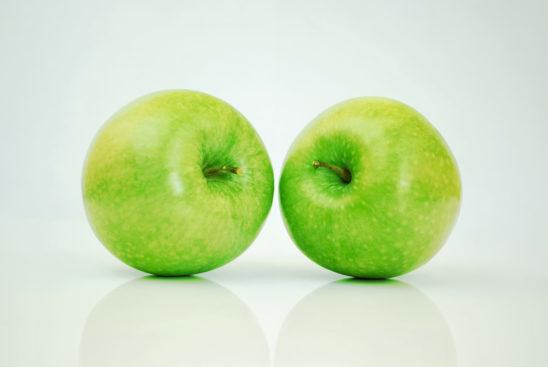 Two Green Apples Studio Shot