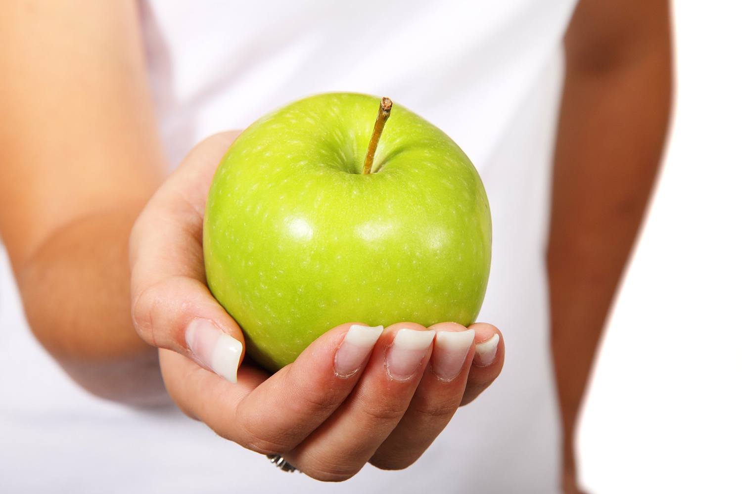 Hand Holding Green Apple. Healthy Eating Lifestyle