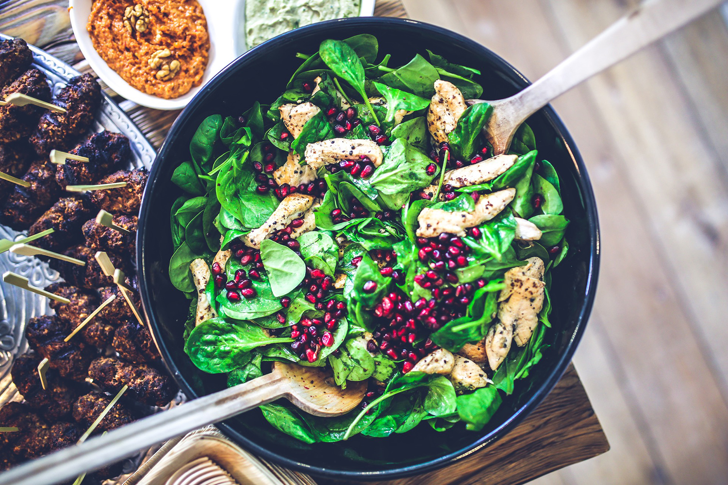 Healthy Meal. Chicken, Spinach and Pomegranate Salad