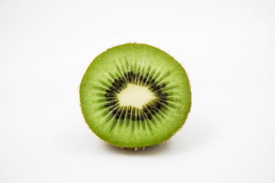Half Slice of Kiwi Fruit Isolated on White Background