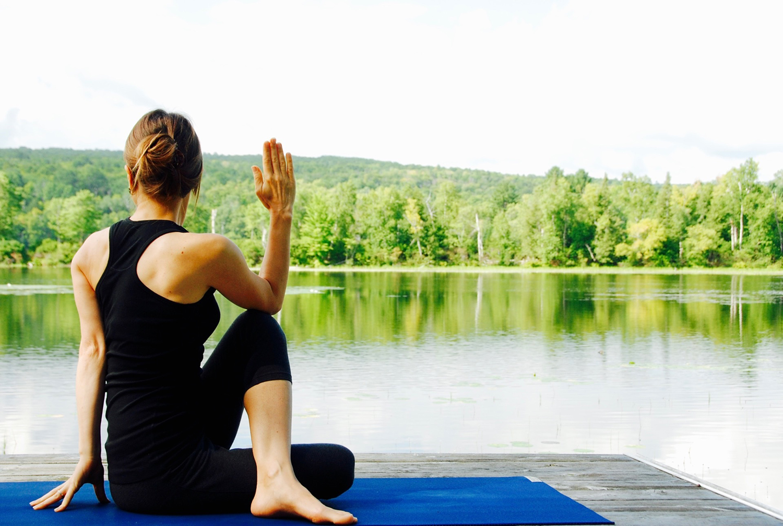 Yoga Woman Doing Seated Twist Pose