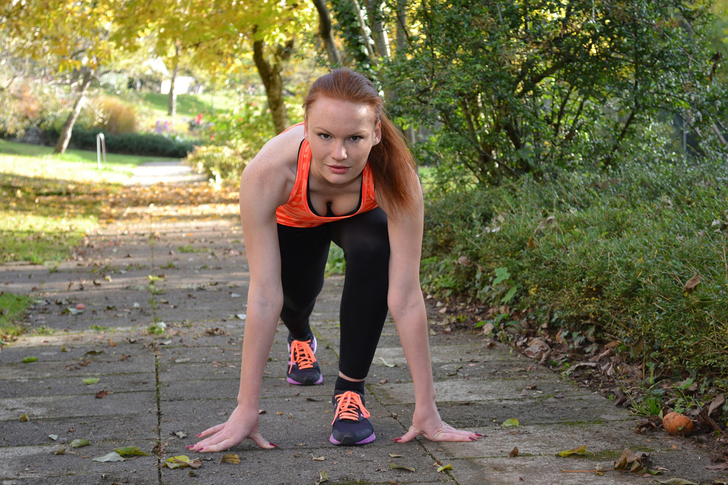 Fit Woman In The Park Ready To Run
