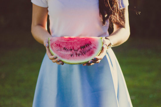 Healthy Woman Holding Watermelon