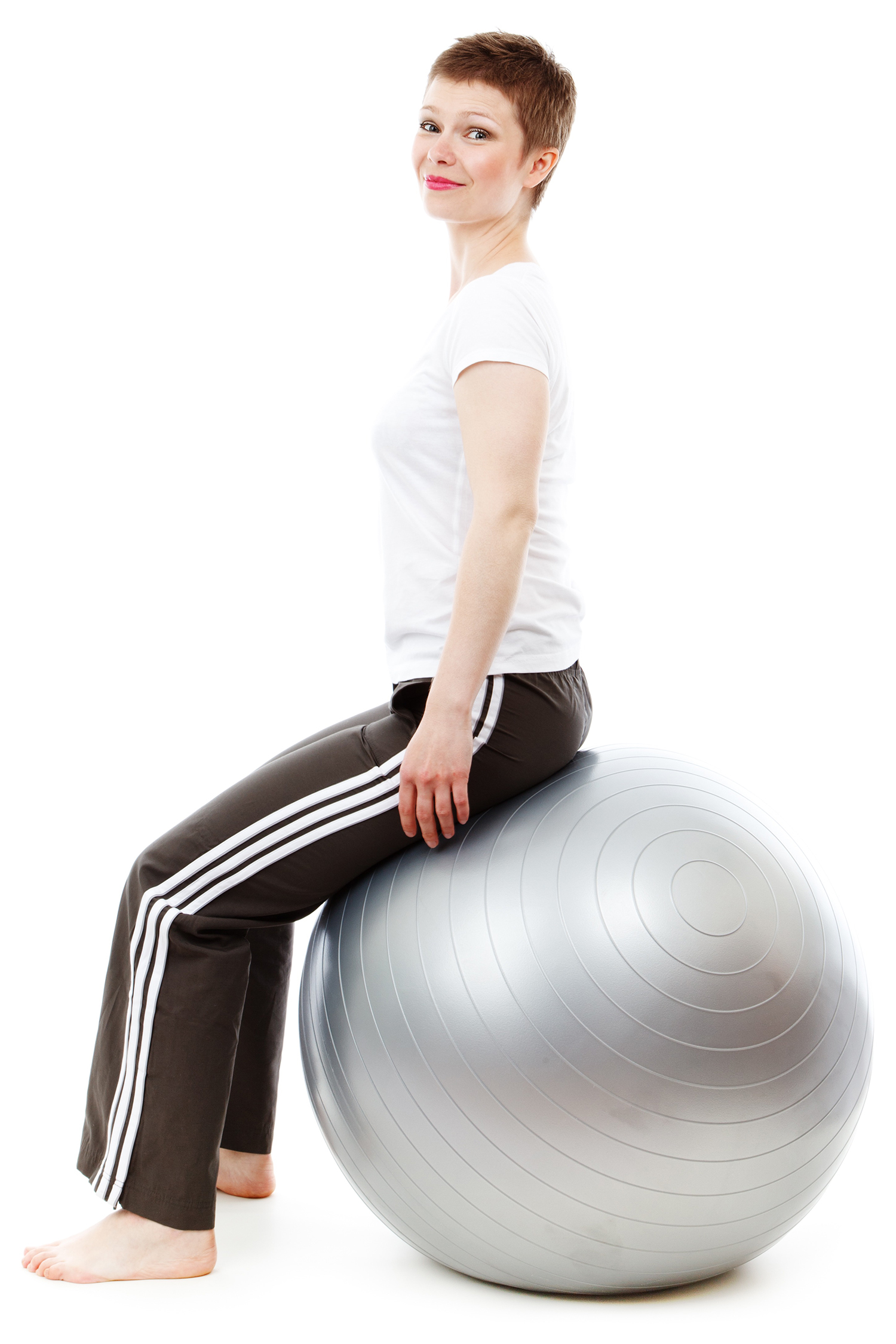Woman With Upright Posture Sitting on Swiss Ball