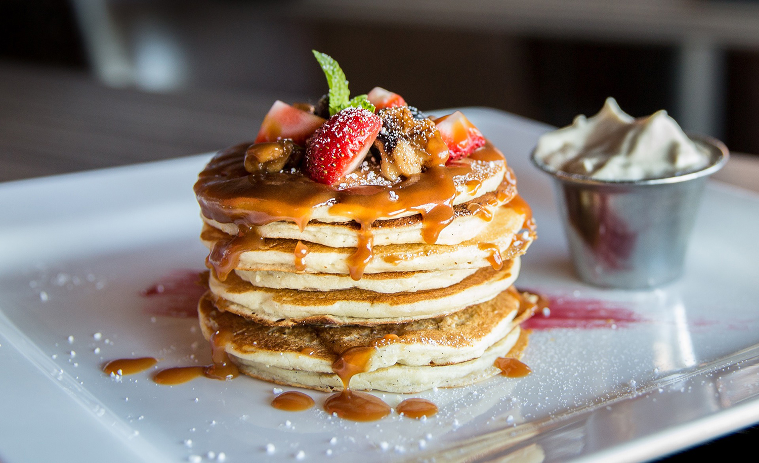 Delicious Pancakes and Strawberries
