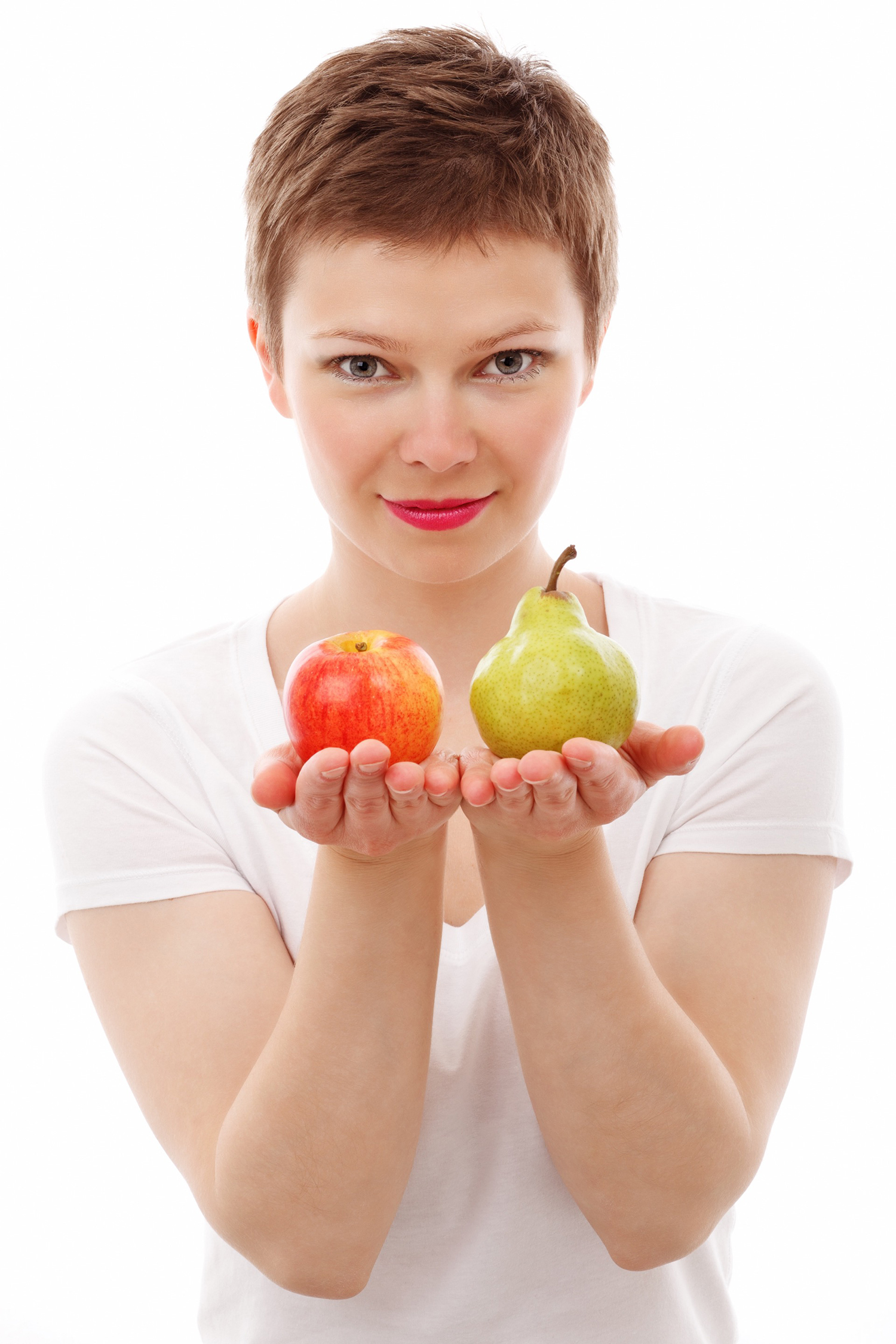 Healthy Woman Holding Fresh Apple and Pear