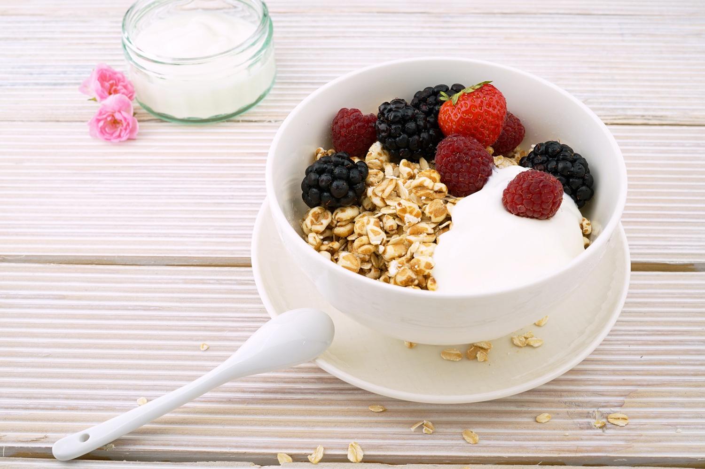 Healthy Eating. Raspberry, Blackberry, Strawberry and Yoghurt in Bowl
