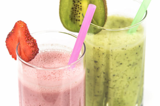 Healthy Lifestyle Smoothie and Fruit Juice With Strawberry and Kiwi Fruit