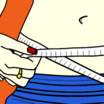 Vector Illustration of Woman Measuring Waistline Using Tape Measure