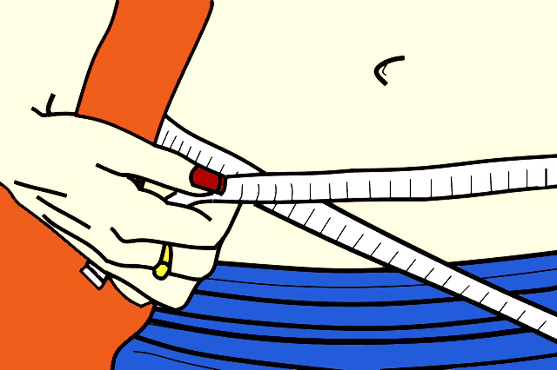 Vector Illustration of Woman Measuring Waistline Using Tape Measure