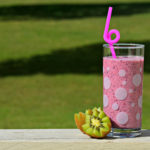 Healthy Smoothie Fruit Juice in Glass and Kiwi Fruit