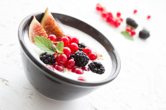 Healthy Snack, Yogurt With Berries and Figs Topping