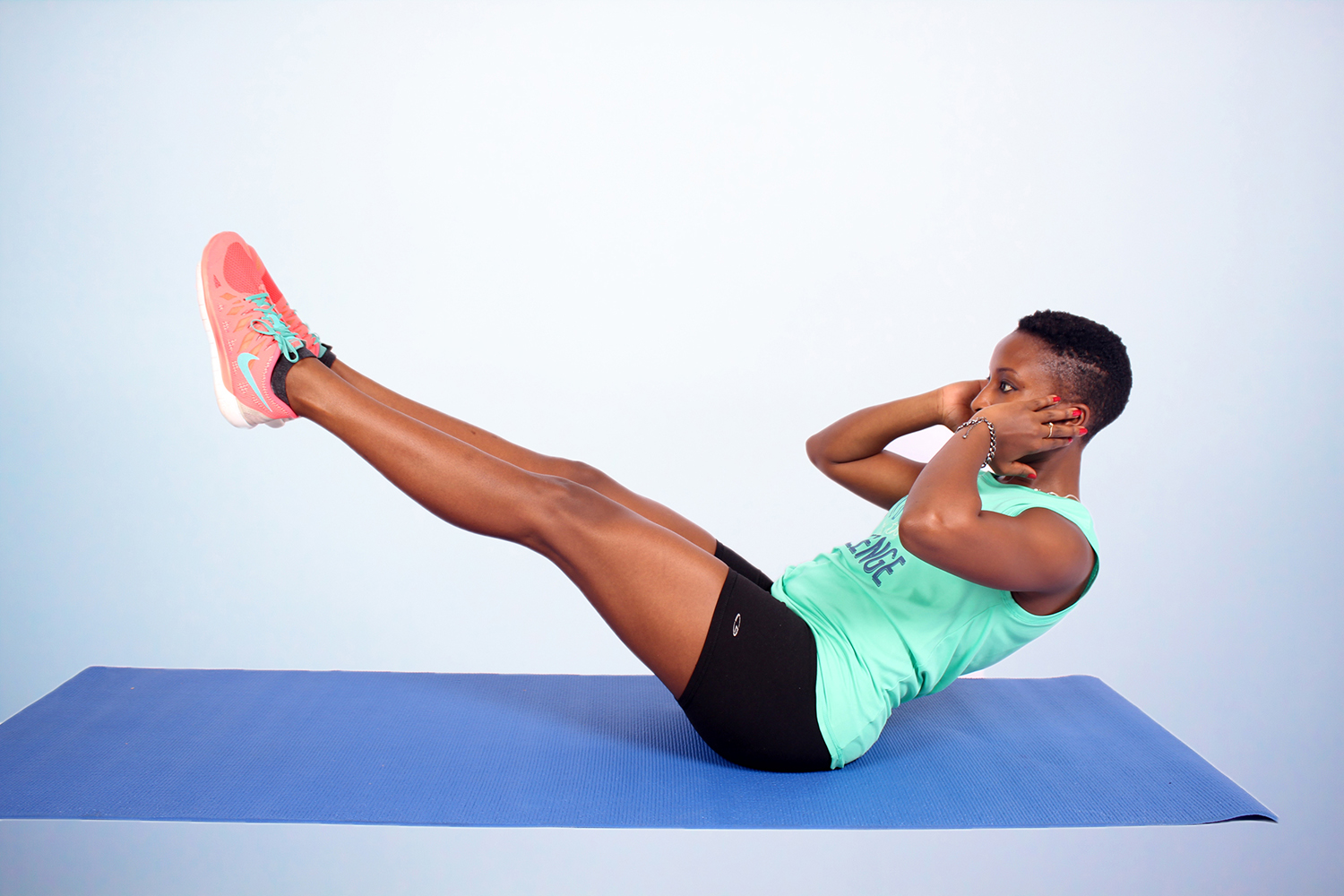 Fitness Woman Doing V Up Crunches Ab Exercise