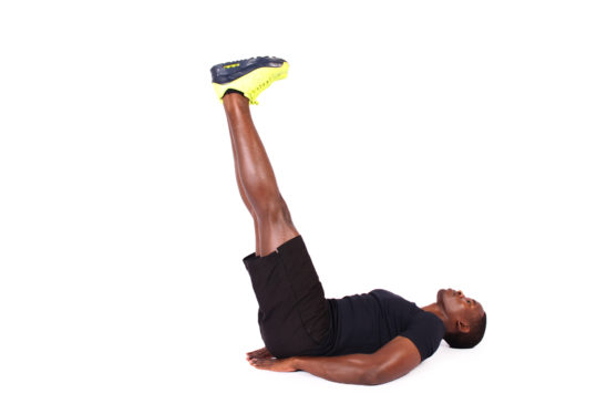 Athletic man doing ab exercise