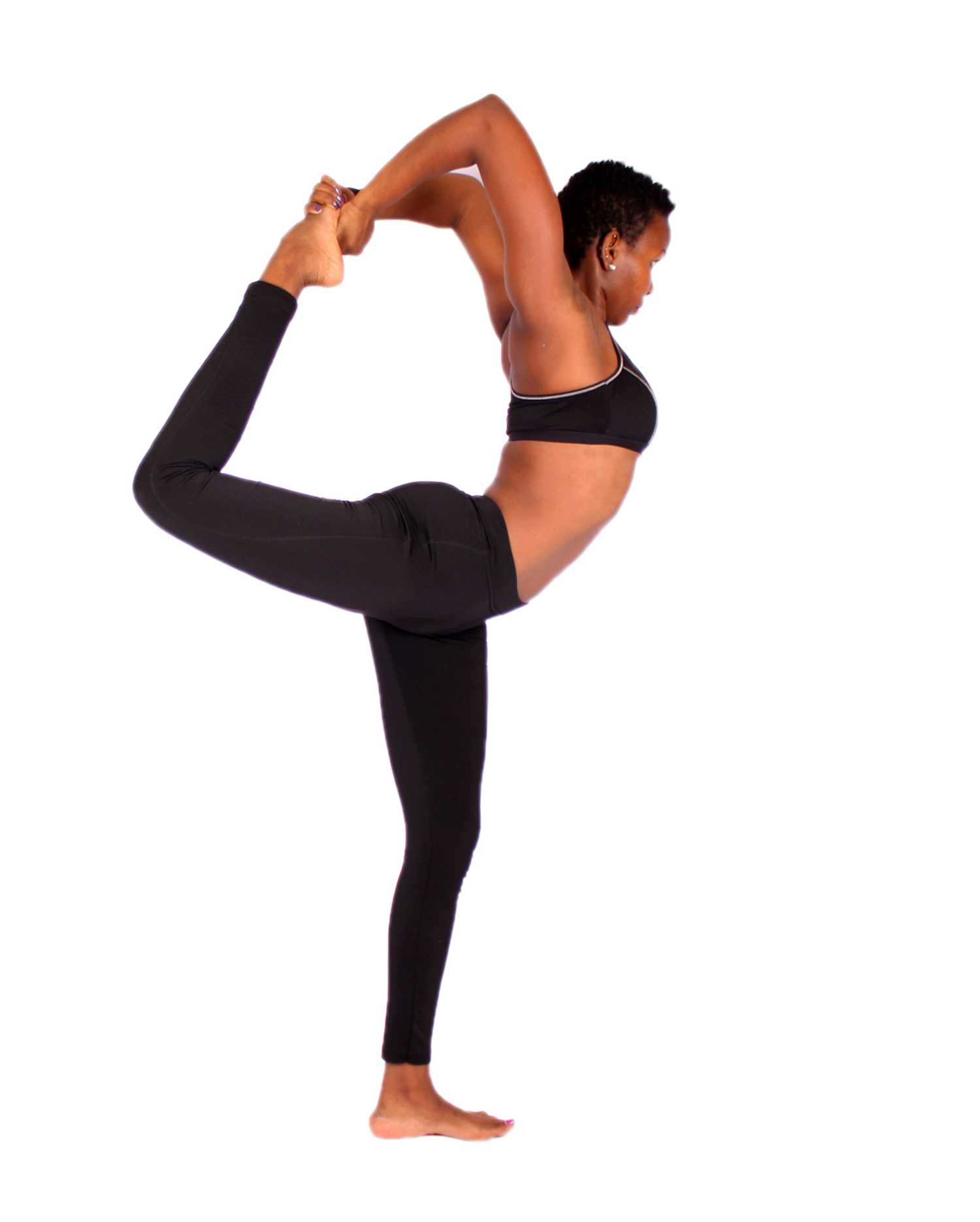 Female doing hard yoga stretch