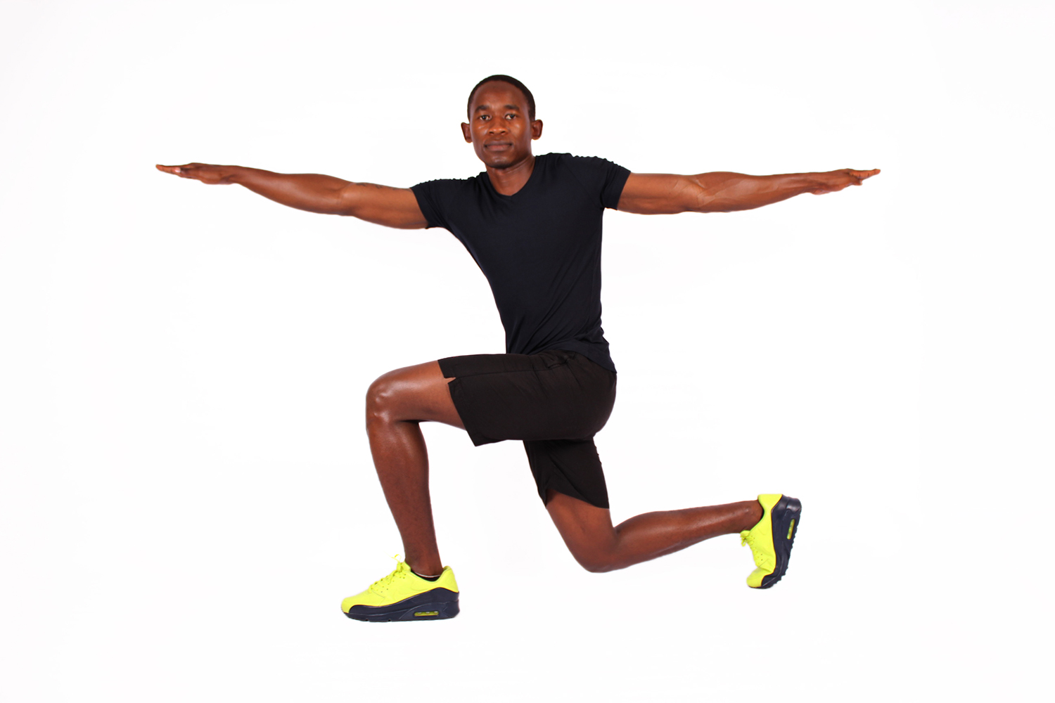 Fit Athletic Male Doing Lunges With Side Twist